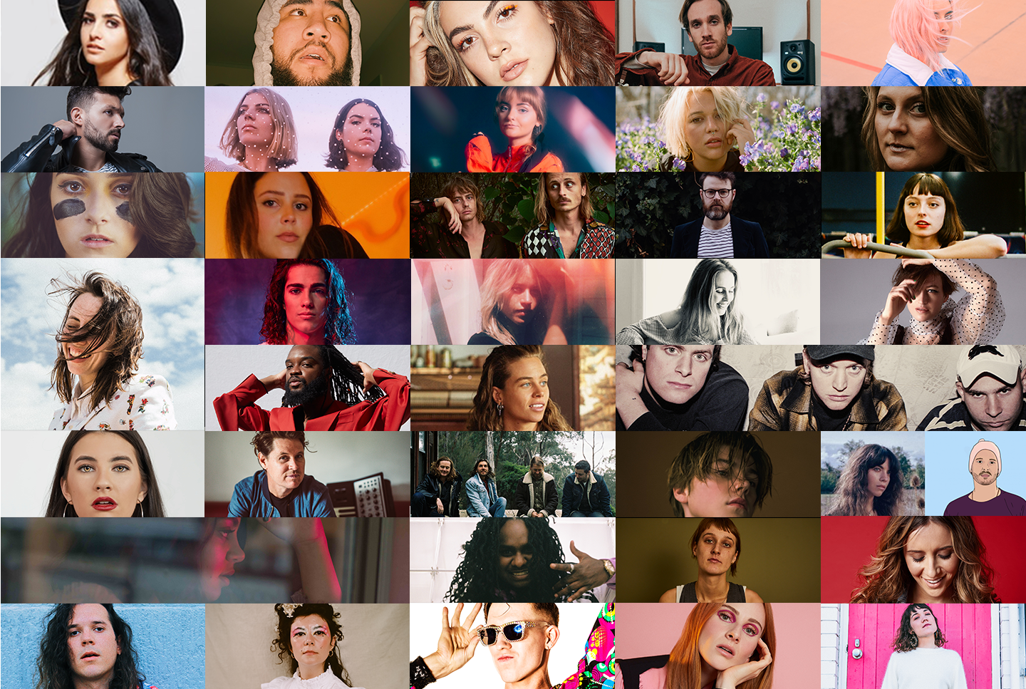 A composite image of the Vanda and Young top 40 shortlist including Thelma Plum, Stella Donnelly, Ruel, Gordi and DMA;s