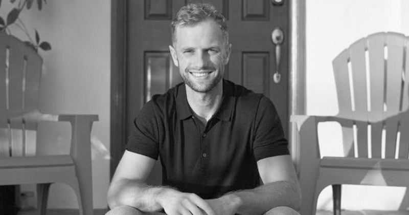 A black and white photo of artist manager Matt Emsell