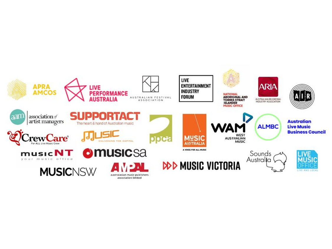A composite image showing the organisations who have signed the open letter including ARIA, AIR, Support Act, APRA AMCOS and Live Performance Australia