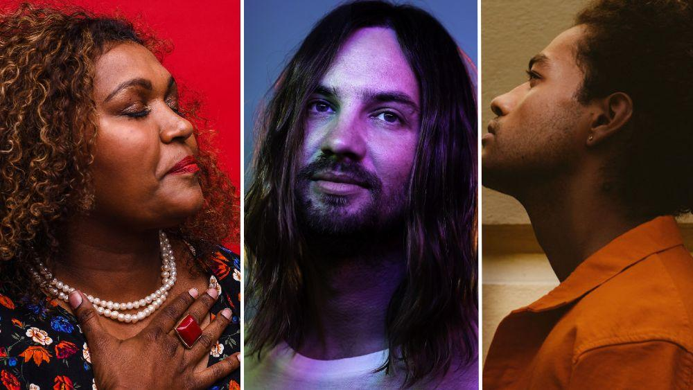 L-R: Singers and songwriters Emma Donovan, Kevin Parker, Ziggy Ramo