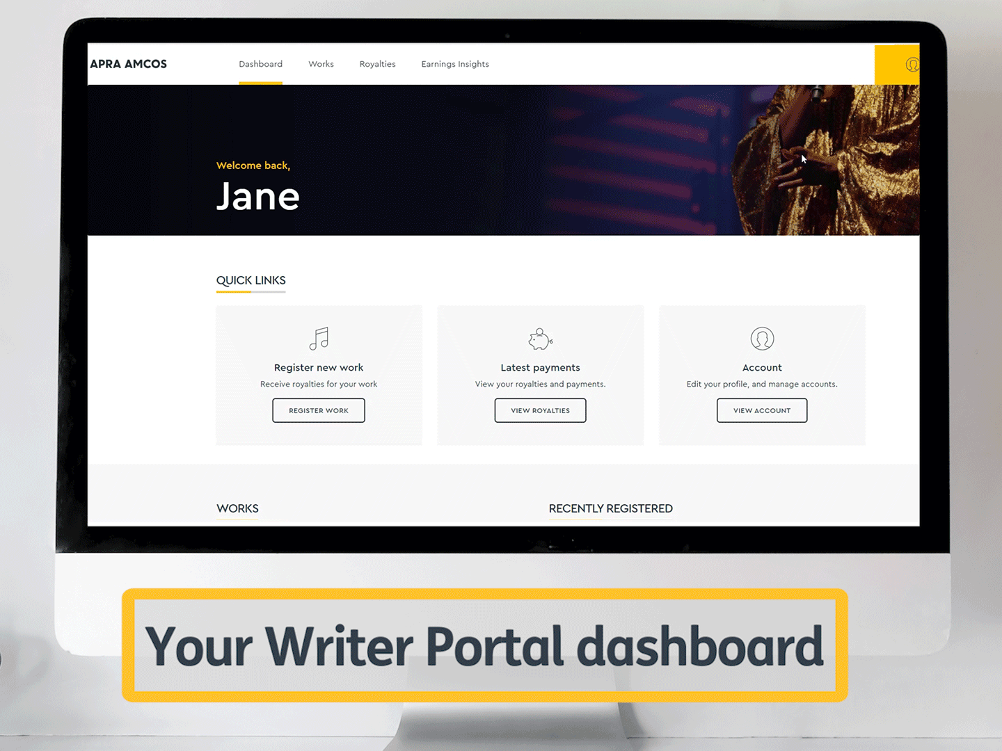 An image of a laptop showing the new writer portal interface