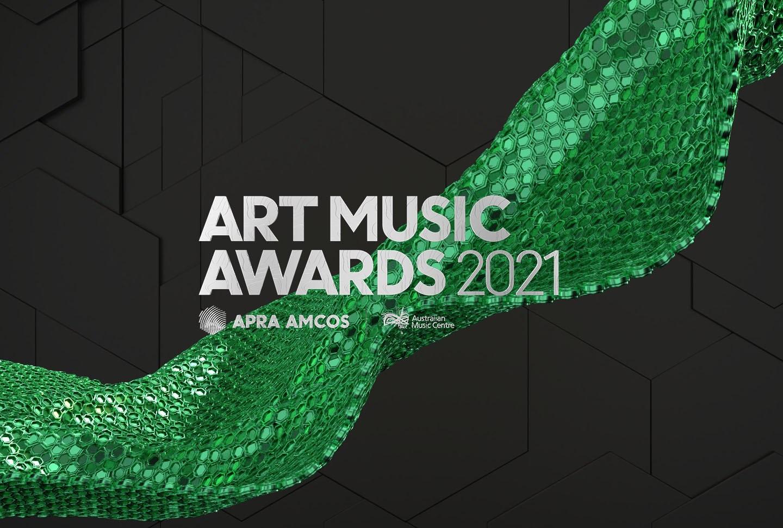 The Art Music Awards 2021 logo, a green banner across a black background